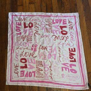 "Coach silk love scarf rolled edges 27"" X 27"""
